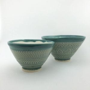 Light blue bowls pottery